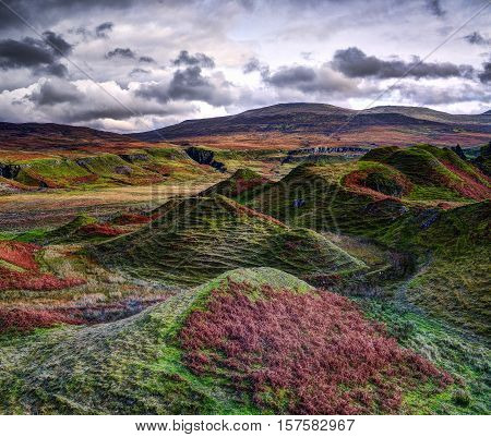 The Fairy Glen autumn valley with strange stone structures on the Isle of Skye Scotland