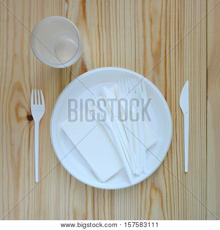 Disposable plastic plate on a wooden background.