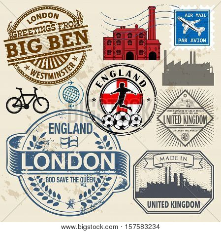 Travel stamps or symbols set England and United Kingdom theme vector illustration
