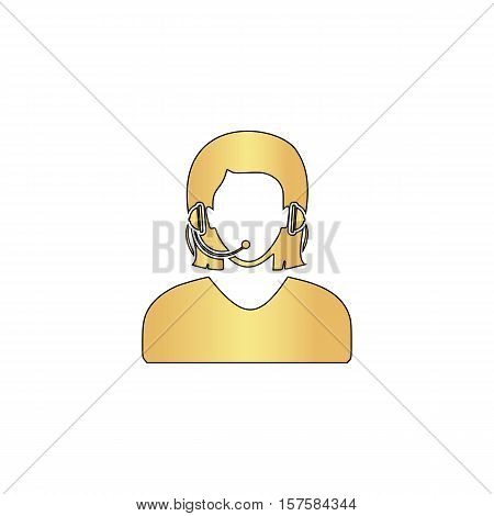 telephonist Gold vector icon with black contour line. Flat computer symbol