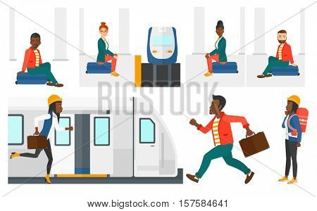 Young woman sitting on a suitcase at the train station. Man waiting for a train at the railway platform. Man traveling by train. Set of vector flat design illustrations isolated on white background.