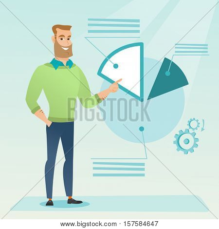 Caucasian businessman pointing at pie chart during presentation. Businessman explaining pie chart. Businessman giving presentation with pie chart. Vector flat design illustration. Square layout.