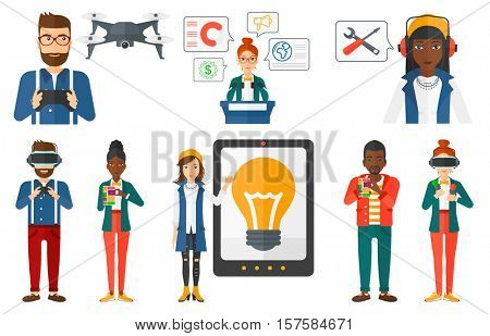 Woman holding modular phone. Young woman with modular phone. Woman using modular phone. Man in virtual relaity headset gaming. Set of vector flat design illustrations isolated on white background.