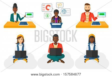 Business woman sitting on a cloud with a laptop on her knees. Woman using cloud computing technology. Cloud computing concept. Set of vector flat design illustrations isolated on white background.