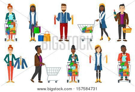 Thoughtful man standing near supermarket trolley full of products and holding shopping list in hands. Man checking shopping list. Set of vector flat design illustrations isolated on white background.
