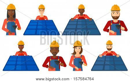 Technician installing solar panels. Technician in inuform and hard hat checking solar panels. Bricklayer working with spatula. Set of vector flat design illustrations isolated on white background.