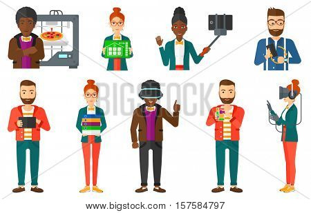Man wearing virtual relaity headset. Gamer in virtual reality headset playing virtual video games. Man wearing gamer gloves. Set of vector flat design illustrations isolated on white background.