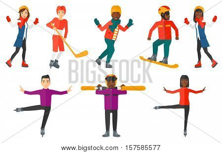 Professional figure skater performing on ice skating rink. Figure skater dancing. Young man snowboarding. Man riding on snowboard. Set of vector flat design illustrations isolated on white background.
