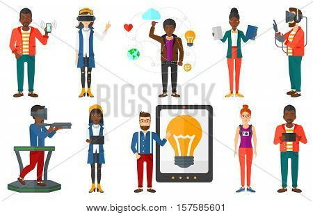 Young business woman using a tablet computer. Businessman working on a tablet computer. Businessman holding tablet computer. Set of vector flat design illustrations isolated on white background.