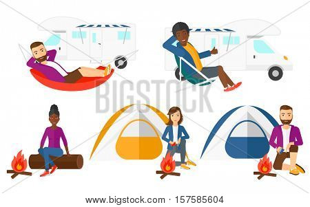 Man lying in hammock in front of motor home. Man resting in hammock and enjoying vacation in motor home. Man travelling by motor home. Set of vector flat design illustrations isolated on background.