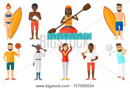 Golfer hitting the ball. Golfer playing golf. Baseball player in uniform holding bat. Baseball player standing with a baseball bat. Set of vector flat design illustrations isolated on white background