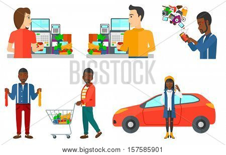 Woman holding keys to her new car. Happy woman showing key to her new car on the background of car. Car dealer showing car key. Set of vector flat design illustrations isolated on white background.