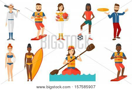 Professional sportsman wakeboarding. Wakeboarder making tricks. Man studying wakeboarding. Young sportsman riding wakeboard. Set of vector flat design illustrations isolated on white background.