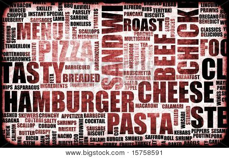 Red Food Menu Background as Grunge Template Mat