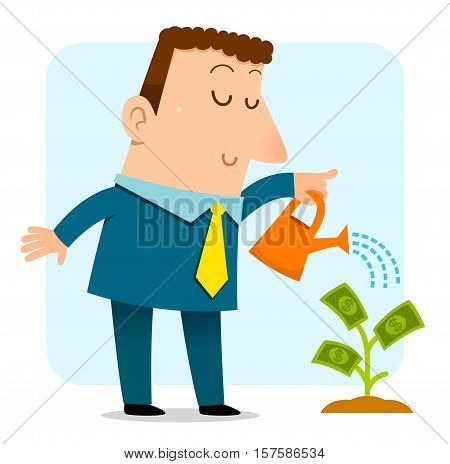 business man watering a sapling that grows money