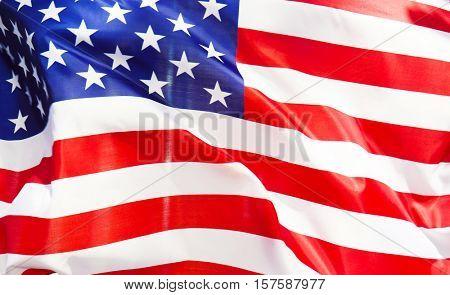 Ruffled American flag, closeup