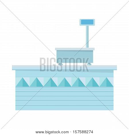 Supermarket store counter desk. Editable element of market interior design. Shopboard stall stand. Part of series of shop equipment. Flat style vector illustration isolated on white background.