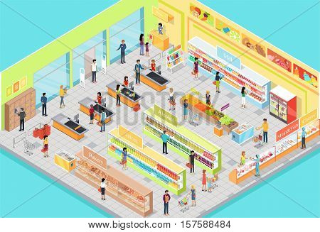 Supermarket interior in Isometric projection. 3D illustration of big trading room with product sections shelves, goods, customers, personnel, sellers, cashes. For store ad, app, game interface. Vector
