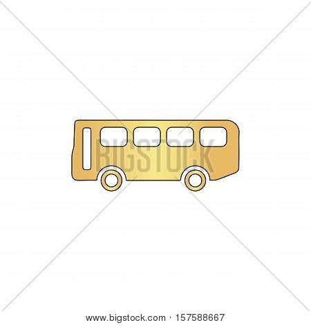 Old Bus Gold vector icon with black contour line. Flat computer symbol