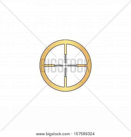 Crosshair Gold vector icon with black contour line. Flat computer symbol