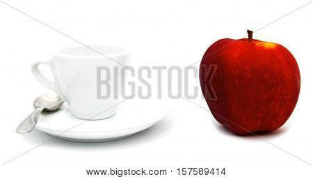 cup of tea or coffe whith red apple isoalted on white