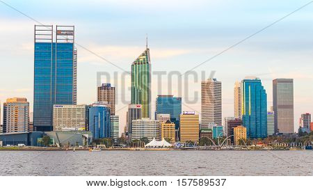 PERTH WESTERN AUSTRALIA - APRIL 7 2016: Late afternoon in the city of Perth, the capital of Western Australia. The Swan River can be seen in the foreground.