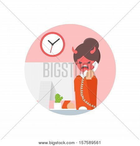 Vector illustration of an angry woman talking on the phone