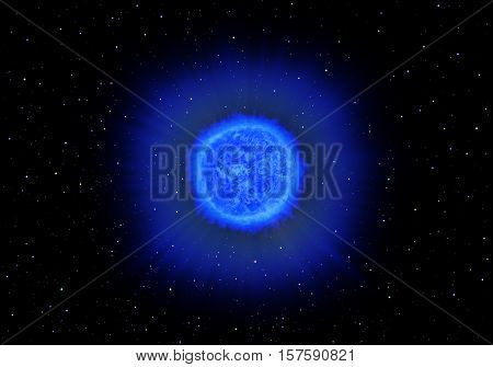 The symbolic image of a blue star on a background of stars in space. 3D rendering.