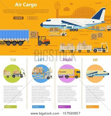 Air cargo infographics with flat Icons Set like truck, delivery, airport, tug and forklift. vector illustration