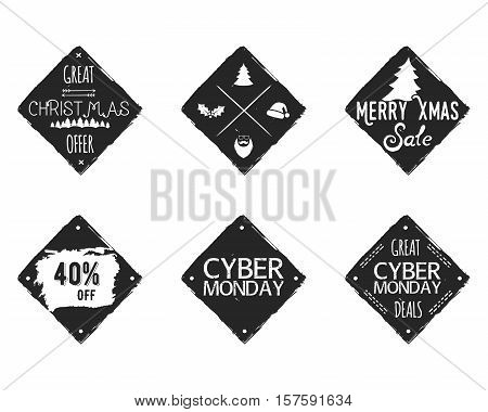 Set of Christmas, cyber monday sale ink, watercolor banners, labels, badges, patches with a winter shopping tag, tree. New year discount coupons, card. Hand drawn hipster design. Vector illustration.