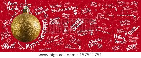 Merry Christmas greetings web banner from world in different languages with golden ball tree calligraphic text and font handwritten lettering