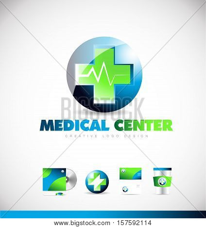 Medical center pharmacy heartbeat vector logo icon sign design template corporate identity