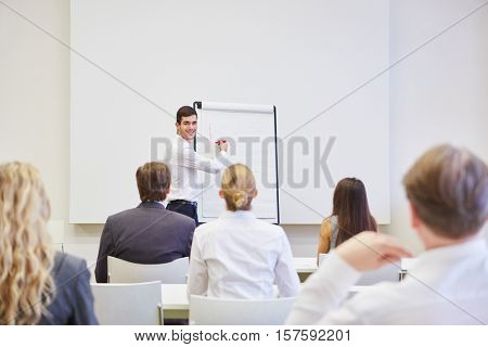 Young Businessman as a speaker with a flipchart during a presentation
