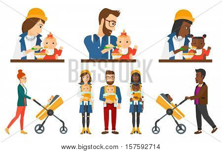 Father feeding baby with spoon. Young father teaching baby to eat with spoon. Mother spoon-feeding her baby. Mother nursing baby. Set of vector flat design illustrations isolated on white background.