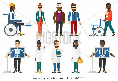 Patient during chest x ray procedure. Young man with x ray screen showing his skeleton. Patient on reception at radiologist. Set of vector flat design illustrations isolated on white background.