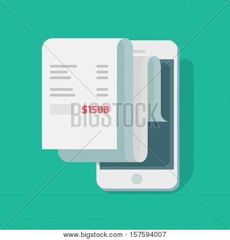 Paper receipt payment on mobile phone vector illustration, financial data report smartphone flat style, statistics data analytics, message idea isolated on color background