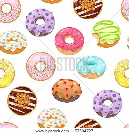 Cute sweet colorful donut seamless pattern. Chocolate or cream yummy cookie donuts food. Candy decoration color donut cake isolated fast food seamless pattern