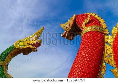 Naga the statue In Chachoengsao Province of Thailand