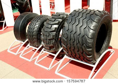 Tires for heavy equipment on agricultural exhibition