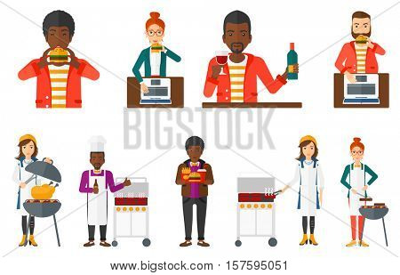 Hipster man eating hamburger. Happy man with eyes closed biting hamburger. Businesswoman is about to eat delicious hamburger. Set of vector flat design illustrations isolated on white background.