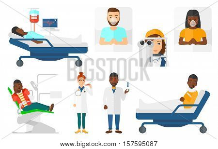 Male doctor holding injection syringe. Doctor holding a syringe ready for injection. Patient in oxygen mask lying in hospital bed. Set of vector flat design illustrations isolated on white background.