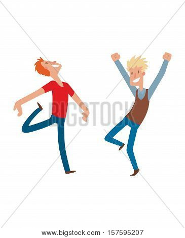 Man jumping in celebration party vector illustration. Happy man jump celebration joy character. Cheerful boy active happiness expression vector. Joyful expression emotions portrait.