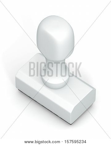 Isolated new white plastic rubber stamps on white background. Office mockup. 3D Illustration.