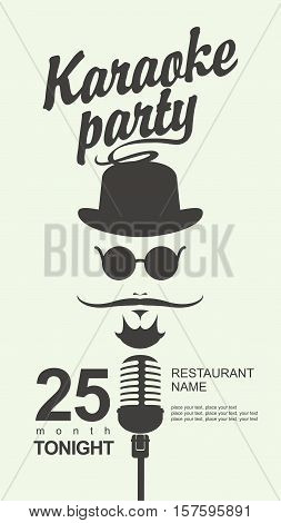 man face with a mustache and wearing a hat and glasses with a microphone and an inscription karaoke party in hipster style