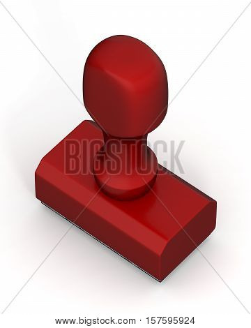 Isolated new red plastic rubber stamps on white background. Office mockup. 3D Illustration.