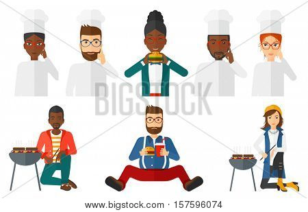 Happy chief-cooker in uniform pointing forefinger up. Smiling chief-cooker thinking about the recipe. Young chef having an idea. Set of vector flat design illustrations isolated on white background.