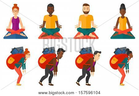 Tired man walking with backpack full of digital devices. Man carrying backpack with devices. Concept of addiction to devices. Set of vector flat design illustrations isolated on white background.