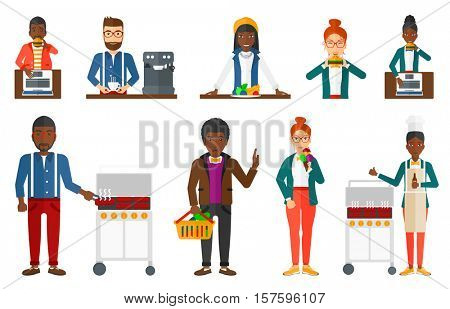 Man cooking meat on gas barbecue grill and drinking beer. Man preparing food on barbecue grill. Man having outdoor barbecue. Set of vector flat design illustrations isolated on white background.