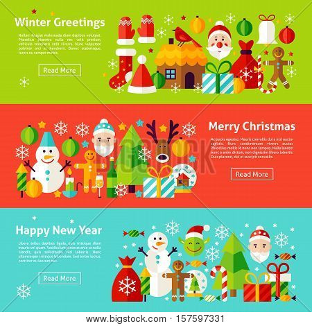 Christmas Holiday Web Horizontal Banners. Flat Style Vector Illustration for Website Header.  Winter New Year Objects.