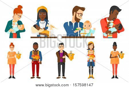 Pregnant woman holding bodysuit for baby. Pregnant woman with bodysuit for baby. Pregnant woman with presents at baby shower. Set of vector flat design illustrations isolated on white background.